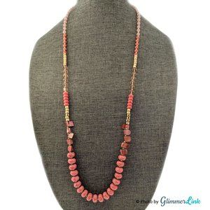Style & Co Coral and Pink Beaded Long Necklace